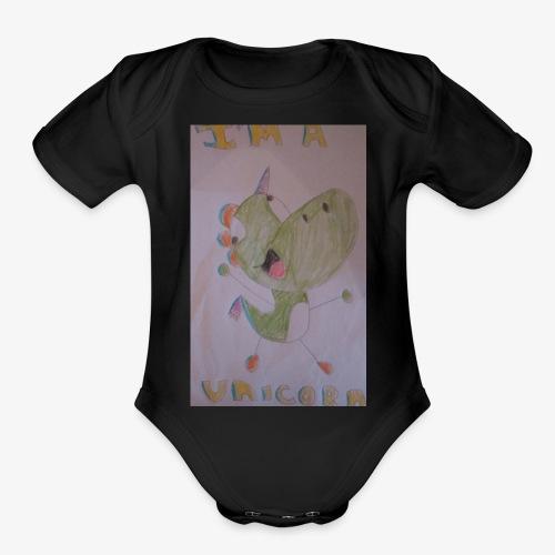 Ima Unicorn Yoshi - Organic Short Sleeve Baby Bodysuit