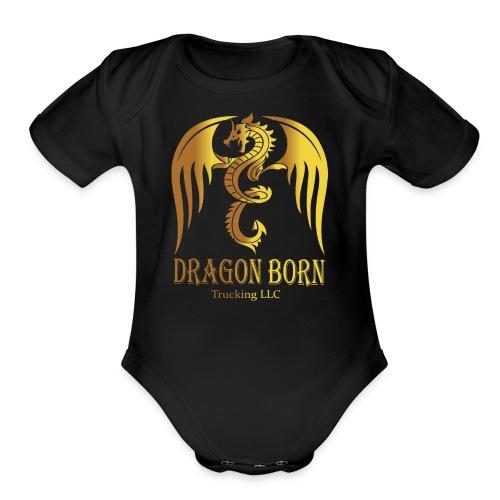Dragon Born Logo Style 1 Gold - Organic Short Sleeve Baby Bodysuit