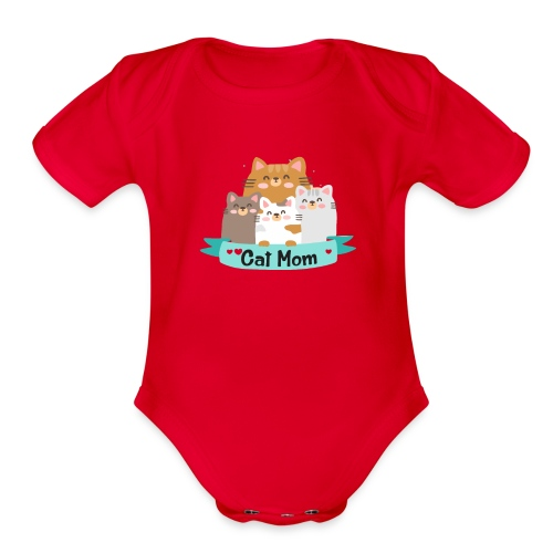 Cat MOM, Cat Mother, Cat Mum, Mother's Day - Organic Short Sleeve Baby Bodysuit