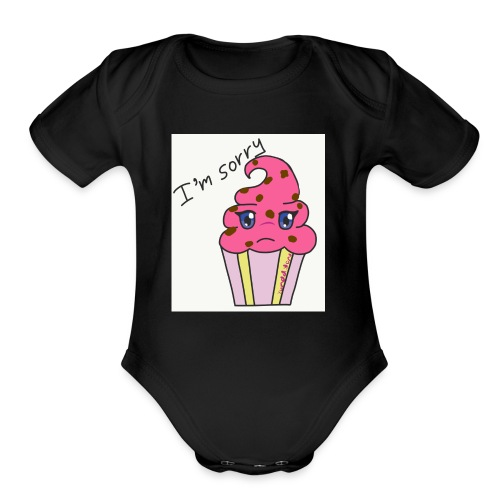 A sorry cupcake - Organic Short Sleeve Baby Bodysuit