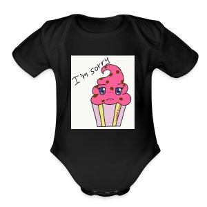 A sorry cupcake - Short Sleeve Baby Bodysuit