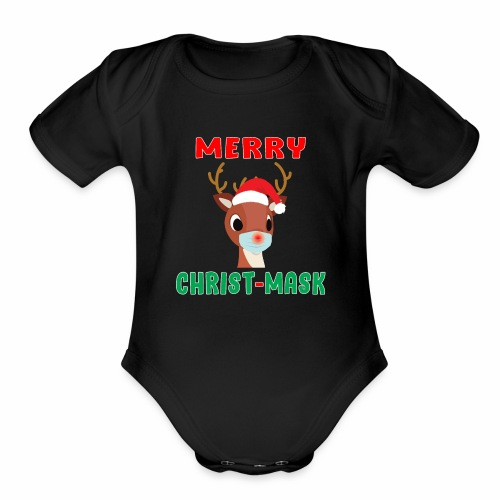 Merry Christmask Rudolph Red Nose Mask Reindeer. - Organic Short Sleeve Baby Bodysuit