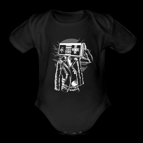 Retro Gamer Head - Organic Short Sleeve Baby Bodysuit