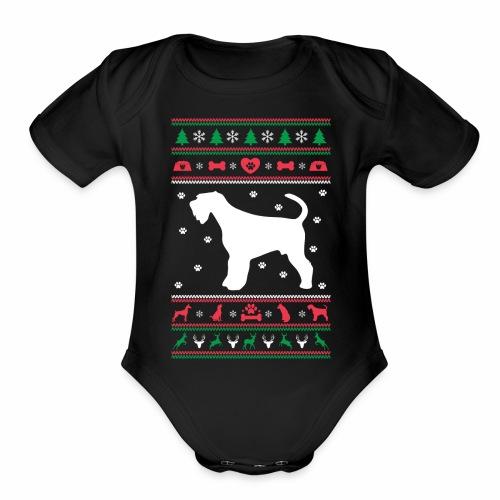 Ugly Sweater Christmas Airedale dog - Organic Short Sleeve Baby Bodysuit