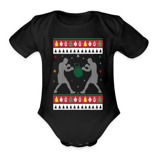 Boxing Ugly Christmas Sweater - Organic Short Sleeve Baby Bodysuit