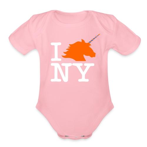 I Unicorn New York (Kristaps Porzingis) - Organic Short Sleeve Baby Bodysuit