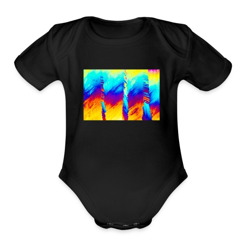 strads drip paint - Organic Short Sleeve Baby Bodysuit