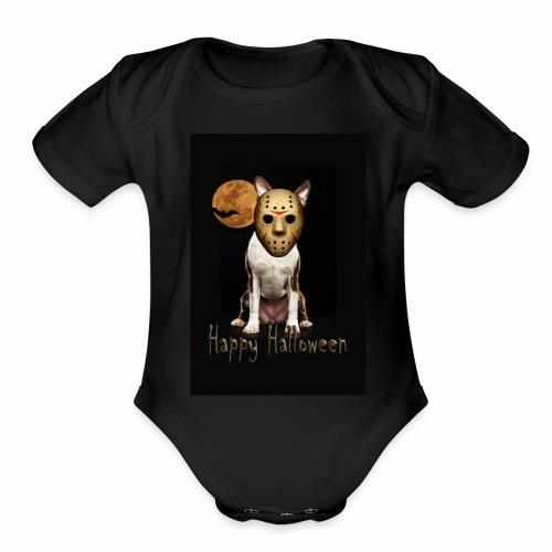 Jason - Halloween Boston Terrier - Organic Short Sleeve Baby Bodysuit
