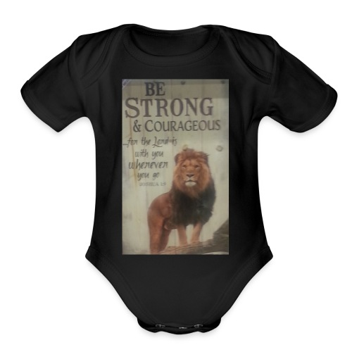 lion updates picture - Organic Short Sleeve Baby Bodysuit