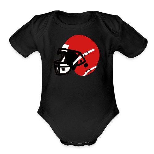 Custom 3 Color Football Helmet - Organic Short Sleeve Baby Bodysuit