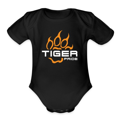 IV Tiger Pride on Black - Organic Short Sleeve Baby Bodysuit