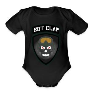 Sgt Clap Logo - Short Sleeve Baby Bodysuit