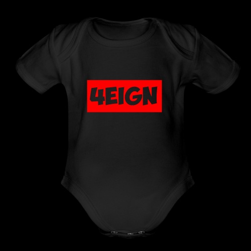 4eign Logo RED - Organic Short Sleeve Baby Bodysuit
