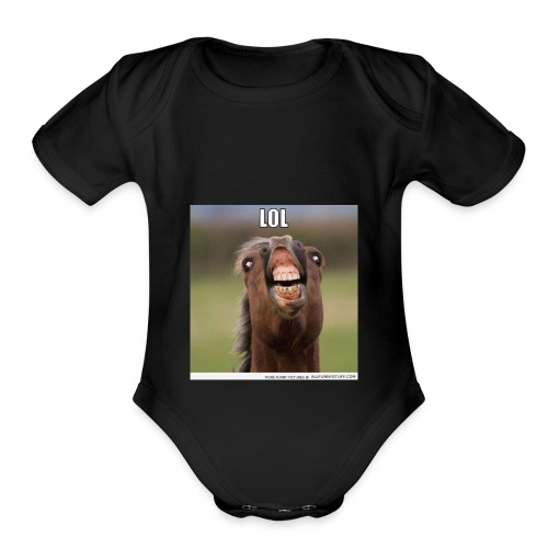 Funny horse - Organic Short Sleeve Baby Bodysuit
