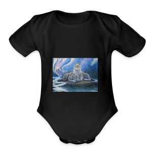 WOLVES OF THE NORTHERN LIGHTS - Short Sleeve Baby Bodysuit