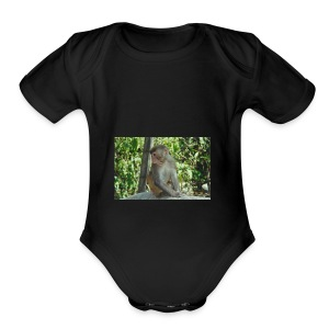 the monkey picture - Short Sleeve Baby Bodysuit