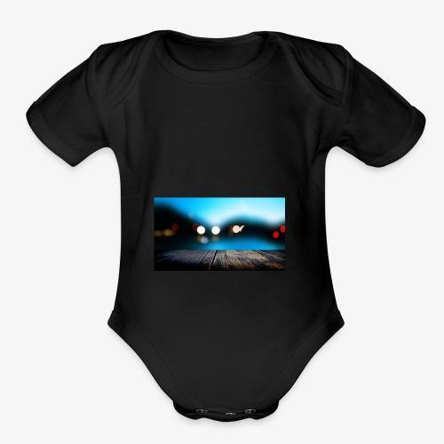 Modern Art Dock painting Fine Art - Organic Short Sleeve Baby Bodysuit