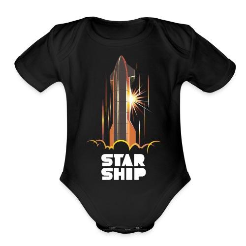 Star Ship Mars - Dark - Organic Short Sleeve Baby Bodysuit