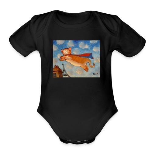 14e0cf00cb138c66f0dfbecf5e599832 super cat cat dr - Organic Short Sleeve Baby Bodysuit