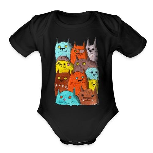 The Cats of Meow Tyson B - Organic Short Sleeve Baby Bodysuit