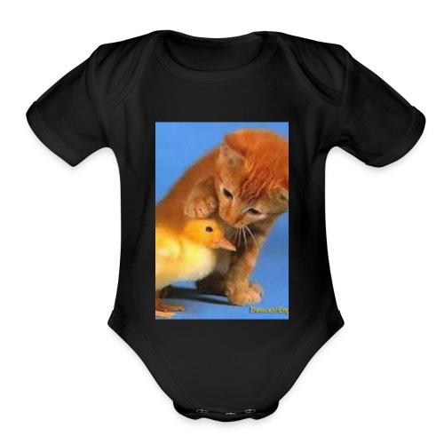 Cat Water Bottle - Organic Short Sleeve Baby Bodysuit
