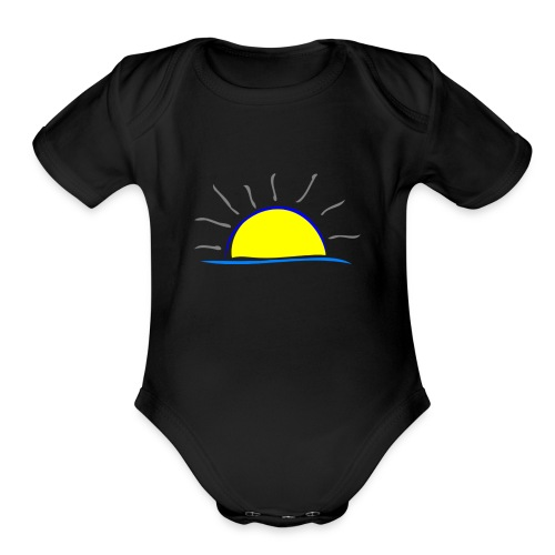 sunset hi - Organic Short Sleeve Baby Bodysuit
