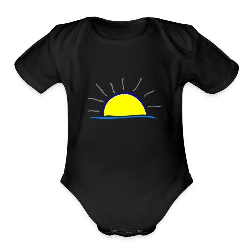 sunset hi - Organic Short Sleeve Baby Bodysuit