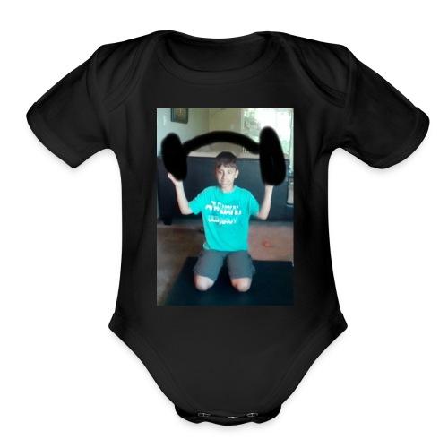 Asher strong mode - Organic Short Sleeve Baby Bodysuit