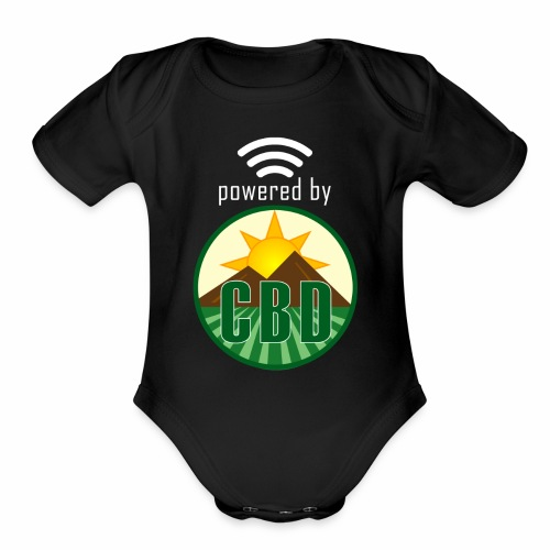 Powered By CBD - White - Organic Short Sleeve Baby Bodysuit