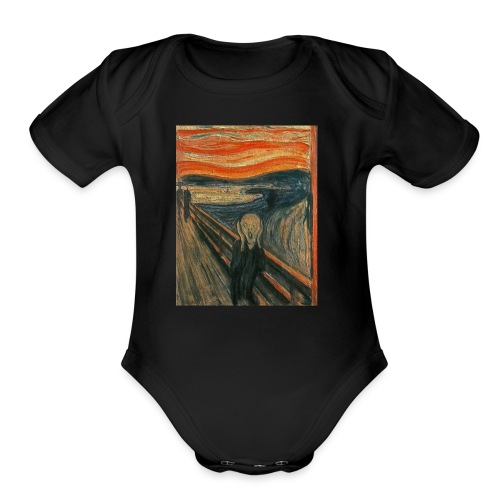 The Scream (Textured) by Edvard Munch - Organic Short Sleeve Baby Bodysuit