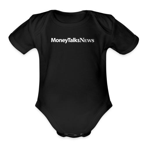 Money Talks News Logo - White - Organic Short Sleeve Baby Bodysuit