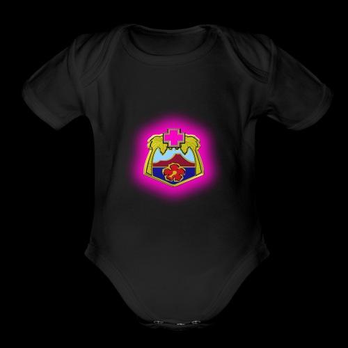 TRIPLER LOGO IN PINK - Organic Short Sleeve Baby Bodysuit