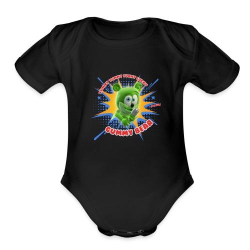 Funny Lucky Gummy Bear - Organic Short Sleeve Baby Bodysuit