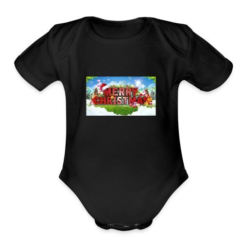 MERRY CHRISTMAS - Organic Short Sleeve Baby Bodysuit