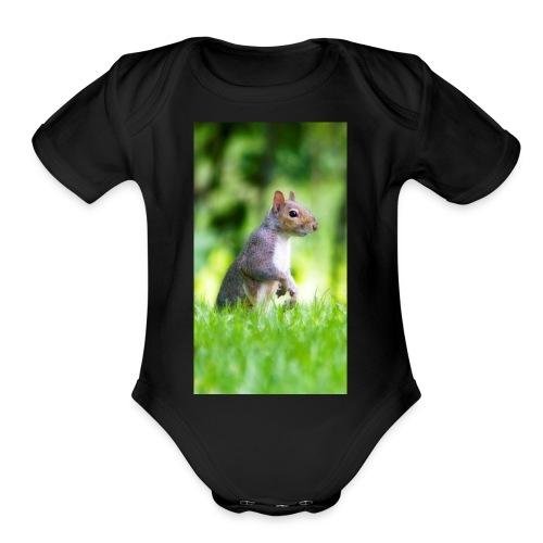 Squirrels don't play games - Organic Short Sleeve Baby Bodysuit