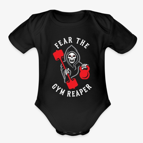Fear The Gym Reaper - Organic Short Sleeve Baby Bodysuit