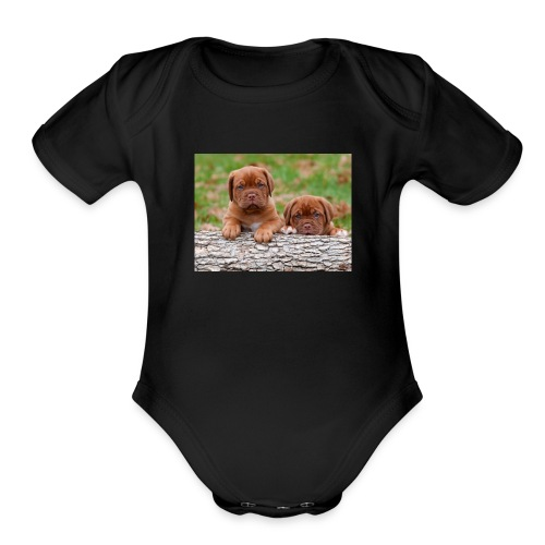French Mastiff Puppies - Organic Short Sleeve Baby Bodysuit