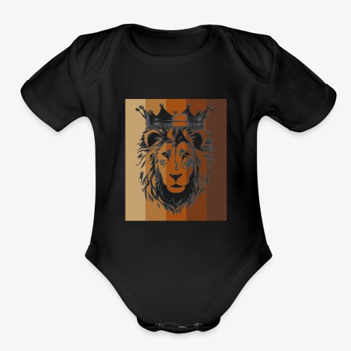 lion colors king - Organic Short Sleeve Baby Bodysuit