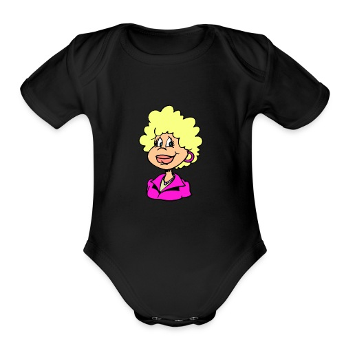 mother cartoon alone - Organic Short Sleeve Baby Bodysuit