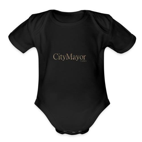 CityMayor Games Logo - Organic Short Sleeve Baby Bodysuit