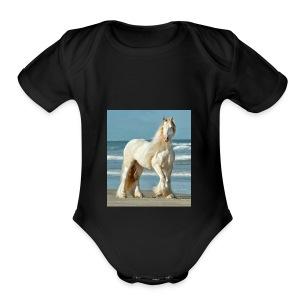 horse dimond - Short Sleeve Baby Bodysuit