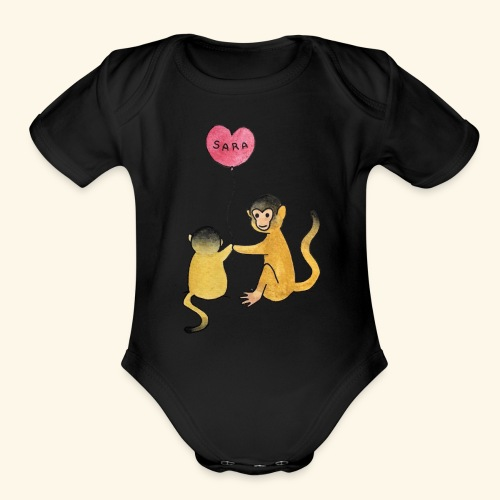 Monkey Family for Yuri - Organic Short Sleeve Baby Bodysuit