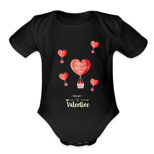 Happy Valentines Day - Organic Short Sleeve Baby Bodysuit