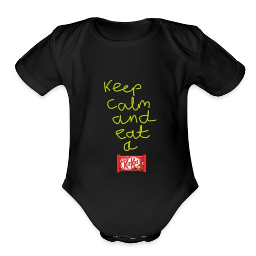 Keep calm and eat a KitKat - Organic Short Sleeve Baby Bodysuit