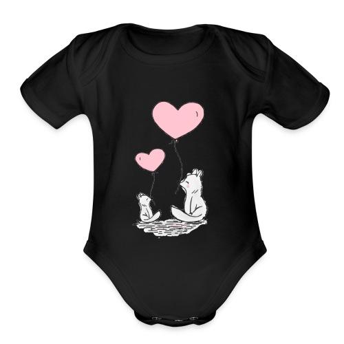 fox cat with heart balloons kids babies motive - Organic Short Sleeve Baby Bodysuit