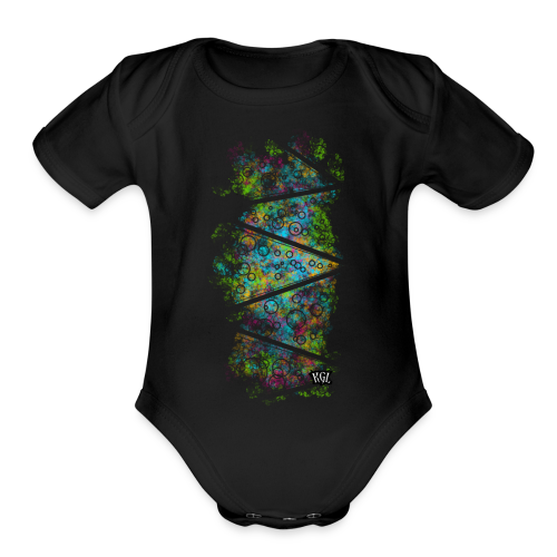 Colorful lines and circles - Organic Short Sleeve Baby Bodysuit