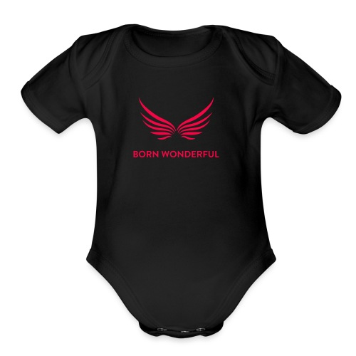 Red Born Wonderful Logo - Organic Short Sleeve Baby Bodysuit