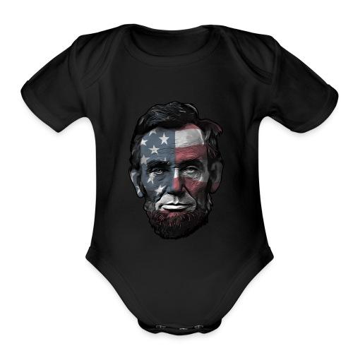 President Abraham Abe Lincoln with USA Flag - Organic Short Sleeve Baby Bodysuit