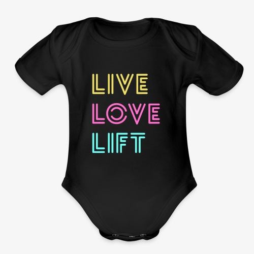 Live Love Lift Neon - Organic Short Sleeve Baby Bodysuit