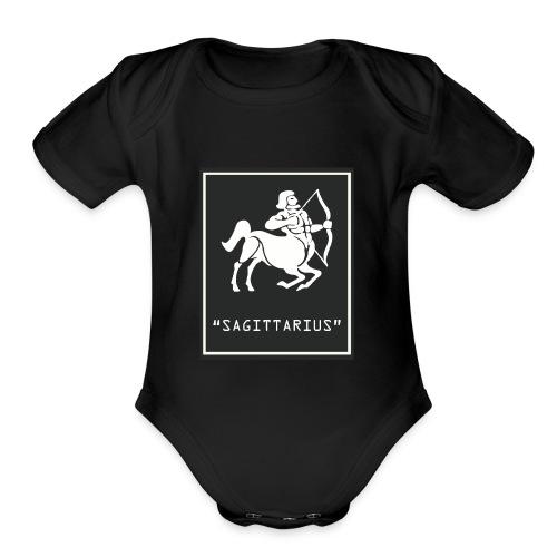 Sagittarius Zodiac Symbol - Organic Short Sleeve Baby Bodysuit